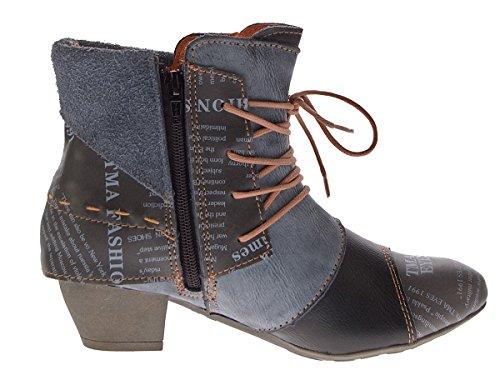 TMA Damen Stiefeletten Echtleder Knöchel Schuhe Leder Boots Trichterabsatz TMA 6106 Rot Grün Schwarz Weiß Gr. 36 - 42 Schwarz-Grau