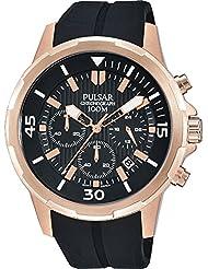 Pulsar Herren 43mm Chronograph Schwarz Silizium Armband Mineral Glas Uhr PT3716