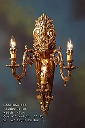 Sconces, lampe murale, laiton antique baroque AgEag0463 de verre