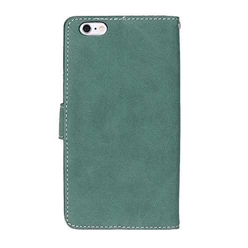 Solid Color Premium PU-Leder Tasche Cover matt Retro Flip-Ständer Case Wallet Fall mit Kartensteckplätze Foto Frames für Apple IPhone 6 6s Plus ( Color : 6 , Size : Apple IPhone 6 6s Plus ) 4