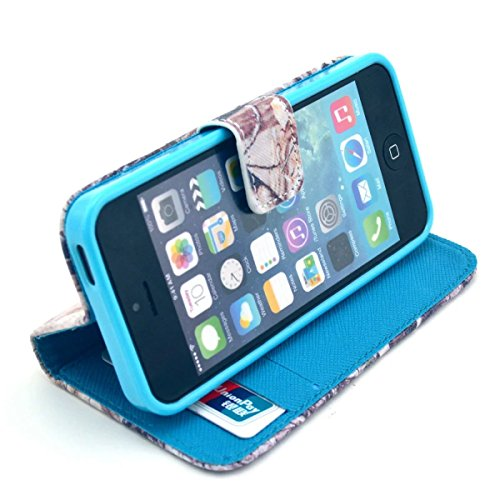 iPhone SE Coque, iPhone 5S Coque, Lifeturt [ Rose hibou ] Leather Case Wallet Flip Protective Cover Protector, Etui de Protection PU Cuir Portefeuille Coque Housse Case Cover Coquille Couverture avec  E02-Camouflage Brown Tree