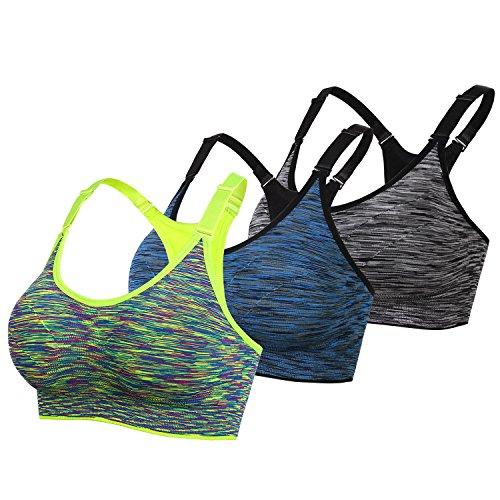 DAS Leben Sport BH Yoga BH starker Halt mit Polster ohne Bügel (3 Stücke) (XL, Grün, blau, grau)