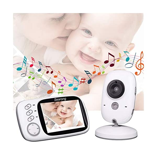 "Baby Monitor, Video Baby Monitor Wireless Baby Camera with Night Vision, Digital 2.4Ghz Baby Monitor with Two-Way Audio, Lullabies Temperature Searong 【3.2 inch LCD Display + 2.4GHz Wireless Transmission】Monitor with a large display screen to your baby's sleep with the most advanced High Quality Color LCD Display with Enhanced 2.4GHz FHSS Technology. Our premium video baby monitor provides high definition and stable streaming, secure interference-free connection and crystal clear digital vision and sound. 【VOX Auto Wake-up &Two Way Talk】VOX mode automatically switches the display to ""sleep mode"" to save battery power. The unit reactivates automatically as soon as it makes a noise in the room, especially when the baby is crying, the display will change from dark to light. Two way Talk, Two way talk audio function allows for a talk back communication so that care your baby with the sound of you. 【Long Connection Distance】Our baby monitor features long range between you and your baby's room.with the range up to 260 meters in open space,up to 50 meters indoor room. 6"