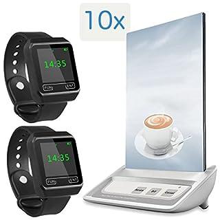 Kellnerruf mit Menüaufsteller – 2X Tragbare Wasserdichte Armbanduhr-Empfänger APE6800 + 10x Multifunktioneller Rufknopf mit Menüaufsteller APE130