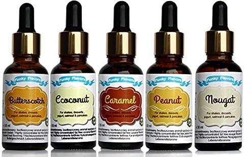 Funky Flavors 5-Pack; Liquid Flavorings ohne Zucker ohne Fett, 5 x30ml (Sweet:Peanut+Coconut+Nougat+Butterscotch+Caramel)