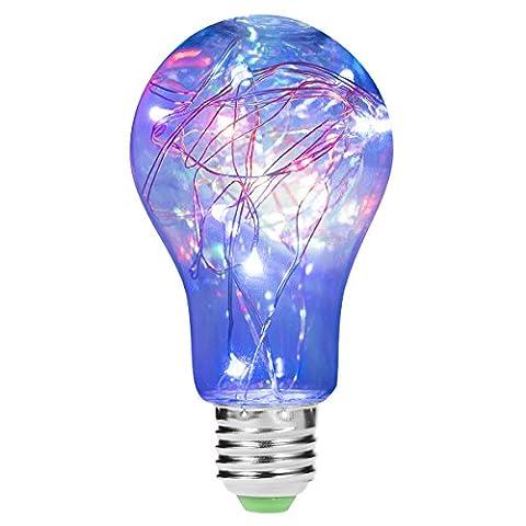 Led Multicolore A60Ampoule à cordes, Luohaoshi E272,5W [équivalent à 20W Ampoule halogène] rétro Artifice décoratifs vintage lampe, 200LM, décoration de lumière de vacances, Lot de 1