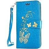 Meet de pour Huawei Ascend G620s Case, (Bling motif Papillons) Folio Wallet flip étui en cuir / Pouch / Case / Holster / Wallet / Case pour Huawei Ascend G620s PU Housse / en cuir Wallet Style de couverture de cas Coque pour téléphone portable Étui Porte-monnaie en cuir étui de téléphone avec support Fonction pour Huawei Ascend G620s - bleu