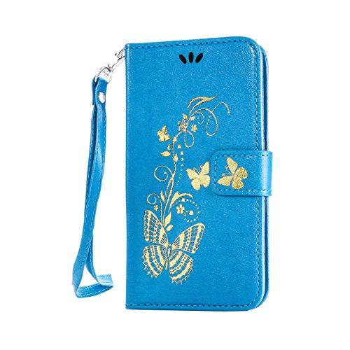 Cozy Hut® Ultra Schlank Folio Handyhülle / für Nokia Lumia 650 N650 Cover / Case / Bumper Hülle Schutzhülle / Rückdeckel Schutzhülle / Handy Hülle / Ultra-thin soft shell / Strass Bräunung Stil Blau Gold Schmetterling Blume Muster Abnehmbar Handy Lanyard Design - blau