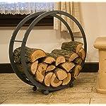 DanDiBo Etagère bois de cheminée Porte bois de chauffage Rond D-70cm Gris 80004 Corbeille bois Porte bois de cheminée