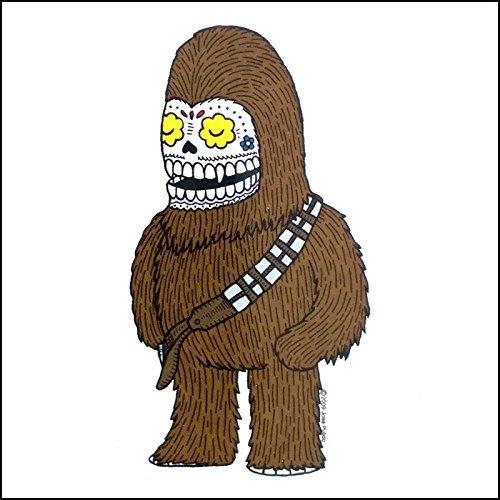 Star Wars Chewy/Chewbacca Calavera die cut klar Vinyl Aufkleber Sugar Skull-Tag der Toten-Wetter Proof Aufkleber