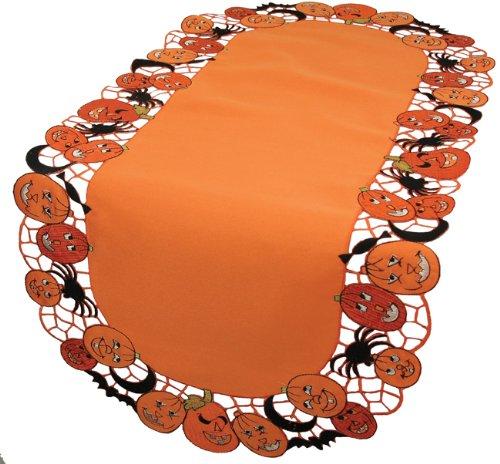 Xia Home Fashions Happy Jack-o-Lanterns 12von 122cm Halloween Tischläufer, Orange, 16 by 34-Inch