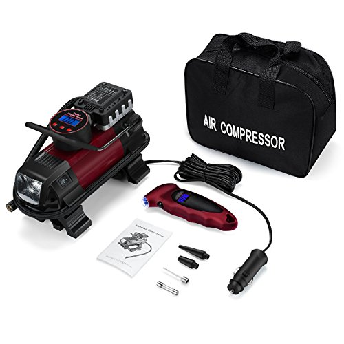 OMORC LVGECA046AB Compresor Aire Coche Portátil, con Manómetro para Neumáticos Pantalla Digital, Bomba Inflador Electrico Automática para Bicicleta, Colchoneta, Balones y Objetos Hinchables