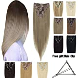 "Double Weft 100% Remy Human Hair Clip In Extensions 10""-22"" Grade 7A Quality Full Head Thick Long Soft Silky Straight..."