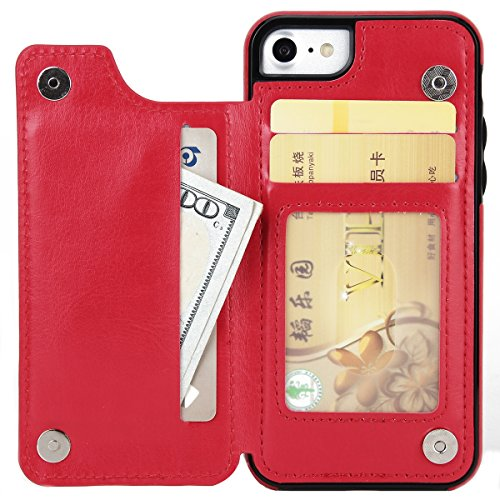FindaGift iPhone 7 Plus Hülle, Klassisch PU Leder Wallet Case mit Flip Standfunktion und Kartensteckplätze Magnetic Closure Cover Anti-drop Schutzwache Case Mode Stoßfest Cover mit Abnehmbarer Fall un Rot