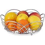 Relaxdays pequeño frutero, cromado cesta de fruta, pan Bowl, Independiente, HxWxD: 8,5x 24cm, de metal, plata
