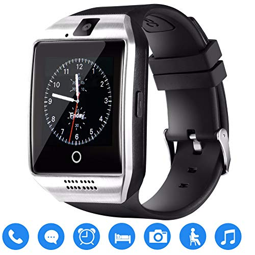 TagoBee TB02 Bluetooth Smart Watch with Sim Card Slot Camera Upgrade HD Screen Touch support Whatsapp Facebook Notification Compatible with All Android phones and iOS (partial function)(silvery)