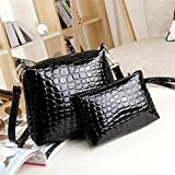 Bluester Women Handbag Shoulder Bag Leather Messenger Satchel Purse Tote (Black)