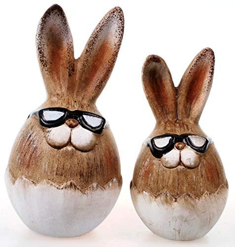 Schick-Design Osterhase 2er Set mit Brille im Ei 15 cm und 12 cm Keramik-Figur Ostern Hase Kaninchen (Keramik Hase Kaninchen)
