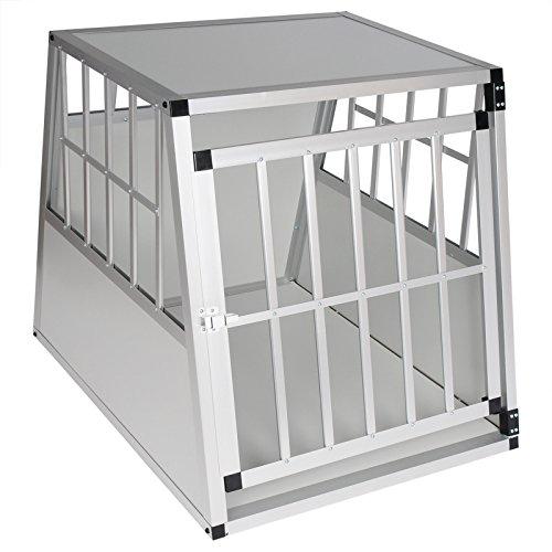 Woltu ht2011ws gabbia animali auto casse box per viaggio in alluminio e mdf trasportino per cane conigli parete smontabile bianco 85x65x69cm