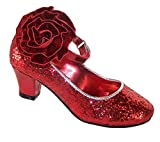 Older Girls Ladies Size 6 Red Sparkly Glitter Heeled Special Occasion and Dressing up Shoes
