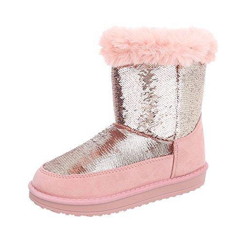 Stiefel & Boots Kinder-Schuhe Klassischer Stiefel Mädchen Ital-Design Stiefeletten Rosa, Gr 33, P-9-
