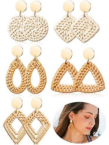 Ohrringe Hohl Bambus Rattan Diamant Geometrie Strohhalm lang Quadratische Ohrringe Frauen Bohemian Anhänger Damen Mädchen Ohrringe ()