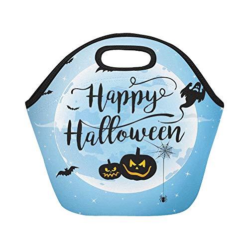 Isolierte Neopren-Lunch-Tasche Happy Halloween Hand Schriftzug Large Size Wiederverwendbare Thermo Dickes Mittagessen Tragetaschen Für Brotdosen Für draußen, Arbeit, Büro, Schule