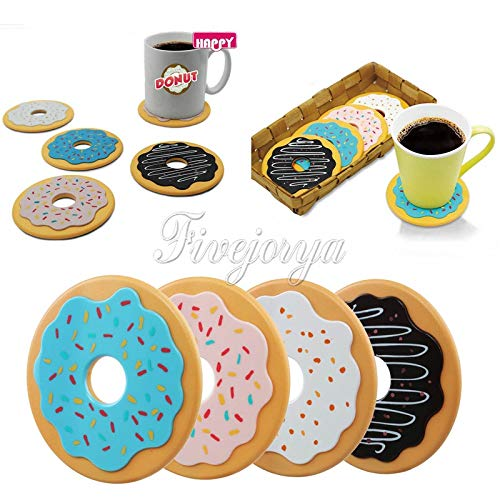 Zoomy far 4PCS / Set Ronde Donut Coasters Multicolor Isolation Thermique Protège-Tables Beverage Coupe Coaster