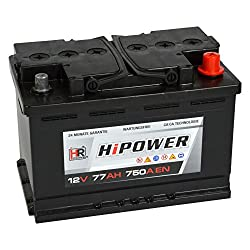 HR HiPower Autobatterie 12V 77Ah 750A/EN Starterbatterie ersetzt 70Ah 71Ah 72Ah 74Ah 75Ah 78Ah 80Ah