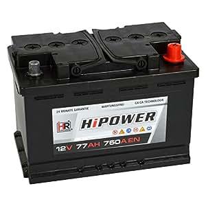 hr hipower autobatterie 12v 77ah 750a en starterbatterie. Black Bedroom Furniture Sets. Home Design Ideas