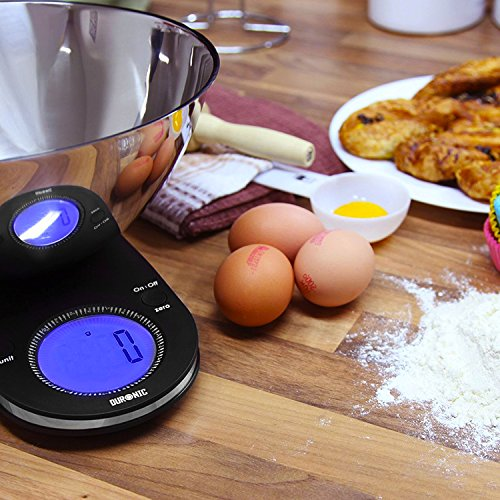 Duronic KS5000 Large Digital Display 5KG Kitchen Scales with 24.5cm Diameter Stainless Steel Mixing Bowl