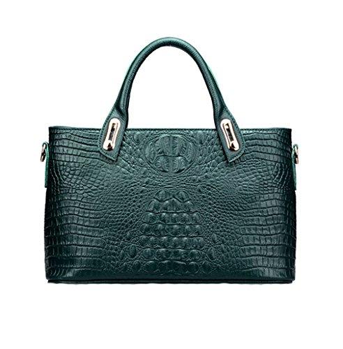 Plover Damen Kuhleder Alligatormuster Tote Handtasche Umhängetaschen Schultertaschen dunkelgrün