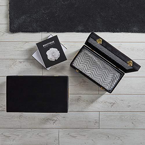 Beautify Set di 2 Bauli in Velluto Nero per Camera da Letto, Soggiorno