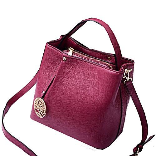 Yy.f Nuovo Primo Strato Di Cuoio Semplice Secchiello Borse Di Cuoio Di Modo Sacchetti Di Modo Mano Diagonali Multicolore Pink