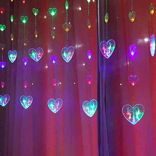 LED-Heart-Shaped Vorhang Lichter, Lichterketten Dekorative Fensterbeleuchtung, 8 Modi, Die Schnur-Licht Für Garten, Gazebo, Party, Innenhof,Color