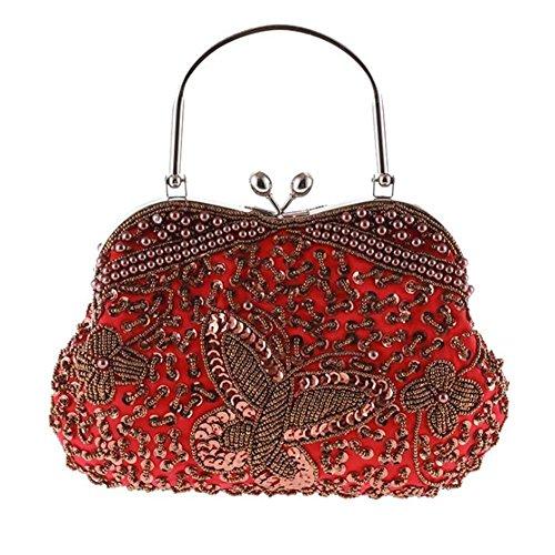Damen Taschen Clutch Kleid Abend Party Hochzeit Schulter Handtasche Vintage Perlen Multi-Color jujube coffee