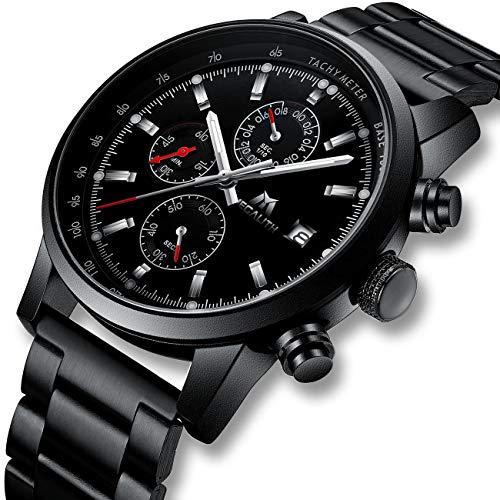 Herren Uhr Männer Militär Chronographen Schwarz Edelstahl Wasserdicht Armbanduhren Mann Designer Leuchtende Sport Business Datum Analog Uhren