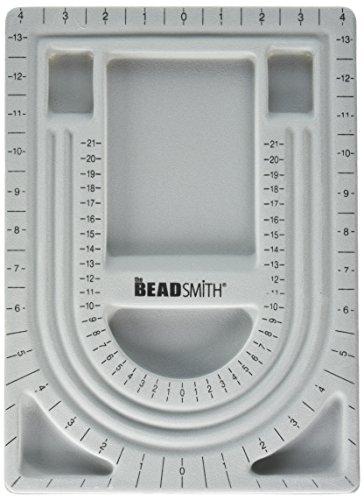 THE BEADSMITH Bead Design Brett zum Aufreihen von Perlen, mit Grauer Beflockung und Deckel, 23 x 33cm (Bead Design Board)