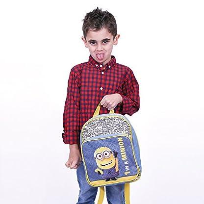 PERLETTI – Mochila de Niño Niña de Mi Villano Favorito Azul Amarillo – Bolso Escolar con Bolsillo Frontal Estampado Bob de Los Minions – Bolsa Escuela Viaje con Tirantes Regulables – 30x24x6,5 cm
