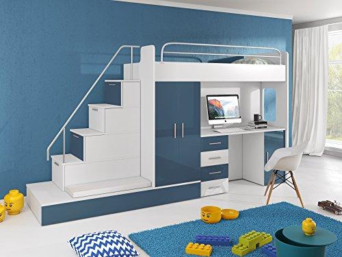 Furnistad Kinderzimmer Komplett Sun | Kinder Hochbett mit Treppe, Schreibtisch, Schrank und Gästebett (Option links, Weiß + Blau)