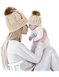Domybest 2 Pcs Mother & Baby Daughter/Son Winter Warm Hat Cap Cotton Knitted Bobble Parent-Child Hats