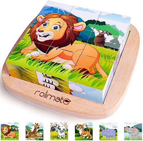 Rolimate Puzzles de Madera, Bloque de Construcciones de León Cebra Elefante Rinoceronte Tigre Conejo Juguetes Rompecabezas Educativos Preescolares para Niños Niñas Bebés Mayores de 18 Meses (9 Piezas)