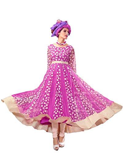 Blissta Pink Brasso Long Partywear Frock style Anarkali Gown