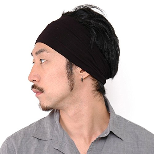 Casualbox Men Japanese Elastic Headband Hair Band Accessory Sport Black