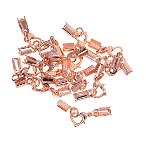 Non-brand 12 Sets Cord End Crimp Caps Schmuck Halskette Armband DIY Mit - Roségold, 9 mm -