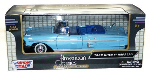 Motor Max American Classics Premium Die-Cast 1:24 Scale 1958 Chevy Impala - Blue by Motormax