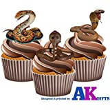 12 x diseño de piel de reptil de piel de serpiente Mix comestibles Tarjeta de cuadrícula adornos para tartas función atril UPS