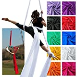 Firetoys Professional Aerial Silks Fabric/Tissues, Medium Stretch High Quality Silk WLL 128kg (White, 12)