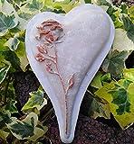 Radami 3D Grabherz Herz m. Rose Grabschmuck Dekoherz Dekoration Trauerherz Weiß asym.