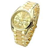 JSDDE Uhren,XL Gold Herren Chrono Business Armbanduhr Drei unecht Chronograph Designer Panzerarmband Analog Quarzuhr (Beige)